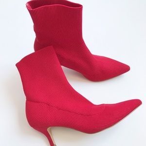 Urban Outfitters Red Ankle Sock Boots
